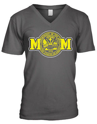 Army Mom Mother Military Armed Forces Patriotic USA Pride Mens V-neck T-shirt