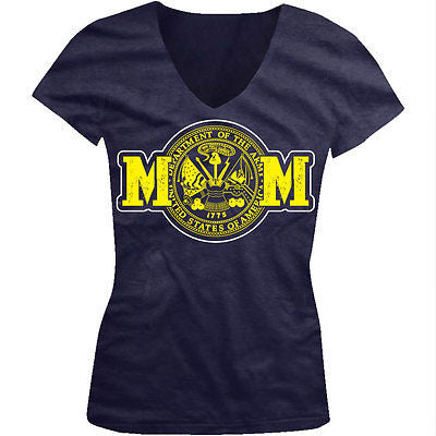 Army Mom Mother Military Armed Forces Patriotic USA Pride Juniors V-neck T-shirt