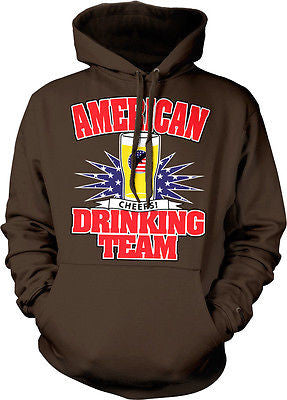 American Drinking Team Cheers USA Flag Red White Blue Pride Beer Hoodie Pullover