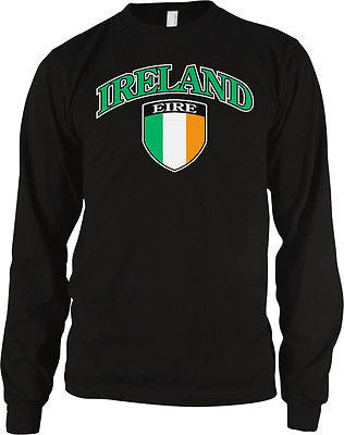 Ireland Shield Eire Flag Irish Pride Soccer Rugby Lucky Long Sleeve Thermal