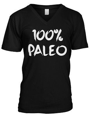 100% Paleo Pride Ancestral Healthy Lifestyle Diet No Wheat Mens V-neck T-shirt