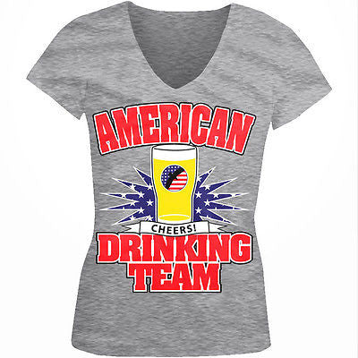 American Drinking Team Cheers USA Flag Red White Blue Juniors V-neck T-shirt