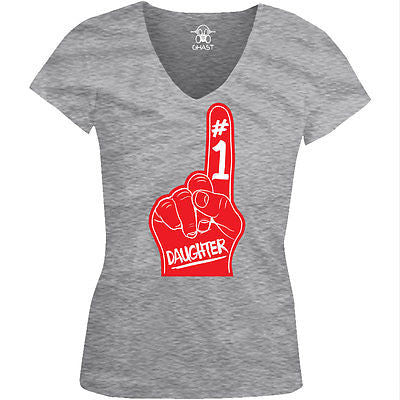#1 Number One Daughter Juniors V-neck T-shirt