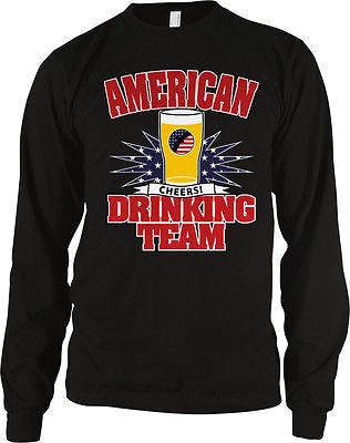American Drinking Team Cheers USA Flag Red White Blue Beer Long Sleeve Thermal