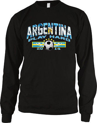 Argentina Play Hard 2014 Football Soccer Fútbol Futbol Long Sleeve Thermal