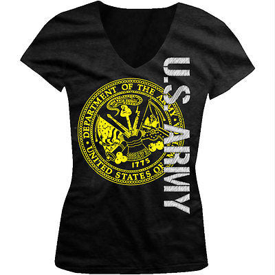 Army Seal Military Armed Forces USA Patriotic Soldiers Juniors V-neck T-shirt
