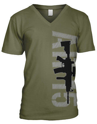 AR15 Assault Rifle Gun Pro 2nd Amendment Bare Arms Defend Mens V-neck T-shirt