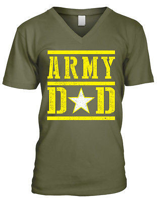Army Dad Fathers Day USA Proud Son Daughter Serving Troops Mens V-neck T-shirt