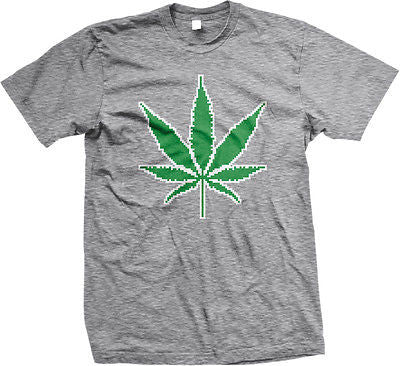 8-bit Pot Leaf Weed 420 Ganja Marijuana Toke Smoke Stoner Kush High Mens T-shirt