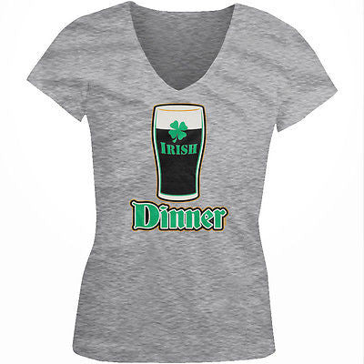 Irish Dinner Beer Pint Glass Clover St Patricks Day Drink Juniors V-neck T-shirt