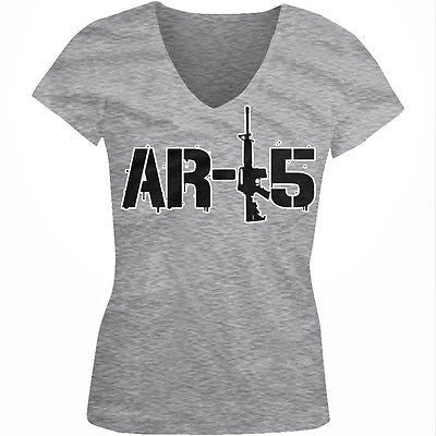 AR-15 Rifle Pro-Gun 2nd Second Amendment Political USA Juniors V-neck T-shirt