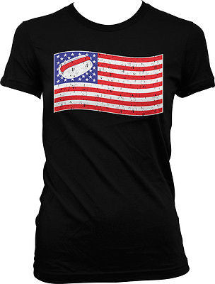American Flag Hot Dog Contest USA Pride Red White Blue Juniors T-shirt