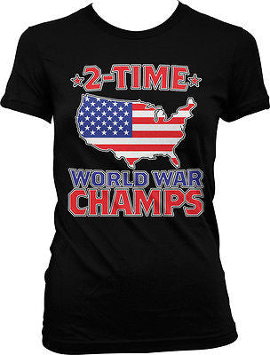 2-time World War Champs USA Flag Map Outline Patriotic America Juniors T-shirt