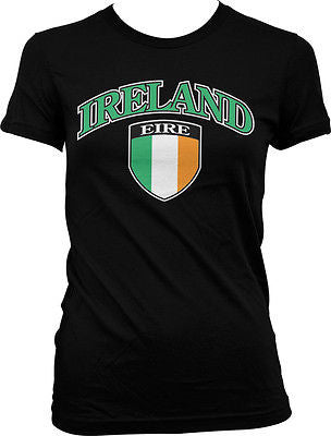 Ireland Shield Eire Flag Irish Pride Soccer Rugby Lucky Charm Juniors Tshirt