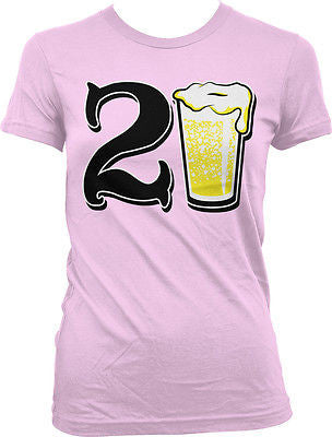 21st Happy Birthday Drinking Drunk Party Beer Wasted Shenanigans Juniors T-shirt