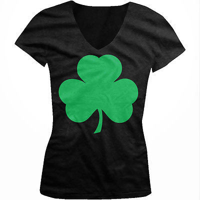 Irish Clover Shamkrock Lucky Charm St Patricks Day Ireland Juniors Vneck T-shirt