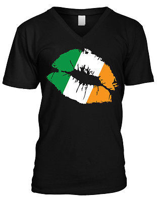 Ireland Flag Lips Irish Kiss Eire Soccer Rugby Mens Vneck T-shirt