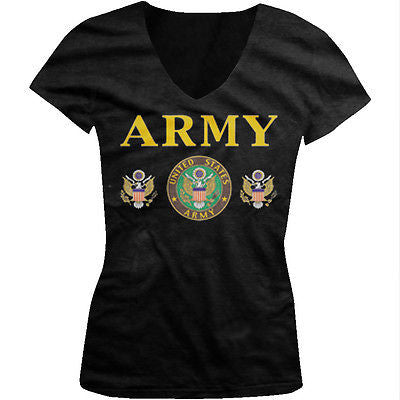 Army Emblem Great Seal USA United States of America Troops Juniors Vneck T-shirt