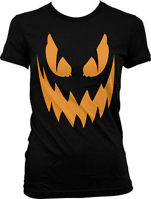 Halloween Jack-o-lantern Carved Pumpkin Scary Costume Party Juniors T-shirt