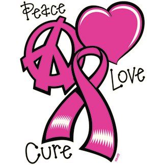 Peace Love Cure Heart Pink Ribbon Breast Cancer Awareness Month Mens T-shirt