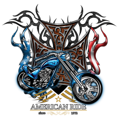American Ride 1972 Chopper Flag Cross Genuine Bike FREE SHIPPING New Men T-shirt