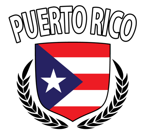 Puerto Rico Rican Flag Crest Olive Branch Regal Juniors Girls T-shirt