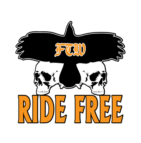 FTW Ride Free Backprint Skull Chopper Motorcycle Ride Bike New Mens T-shirt