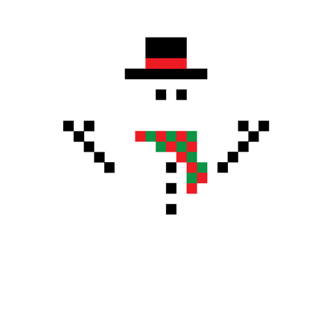 8-bit Snowman Winter Christmas Seasons Greetings Pixelated Mens V-neck T-shirt