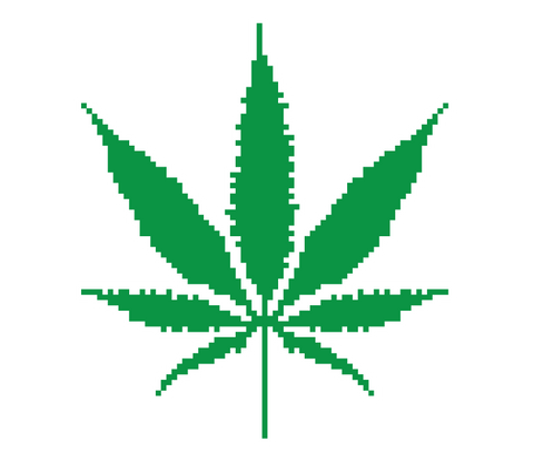 8-bit Pot Leaf Weed 420 Ganja Marijuana Toke Smoke Stoner Mens V-neck T-shirt