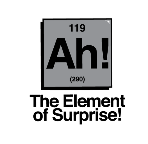 Ah The Element of Surprise Nerdy Geek Chemistry Humor Juniors V-neck T-shirt