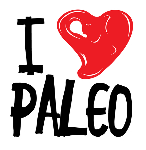 I Heart Love Paleo Healthy Lifestyle Ancestral Diet Steak Low Carb Mens T-shirt