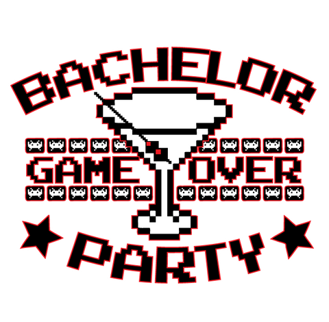 Bachelor Party Game Over Gamer Nerd Geek Funny Humor Joke Juniors V-neck T-shirt