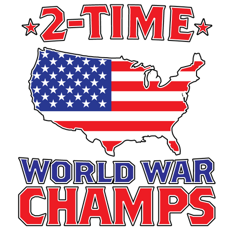 2-time World War Champs USA Flag Map Outline Patriotic Long Sleeve Thermal
