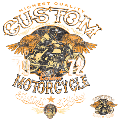 Custom Motorcycle Quality Fastest Rider Chopper Wings Bike 1972 New Mens T-shirt