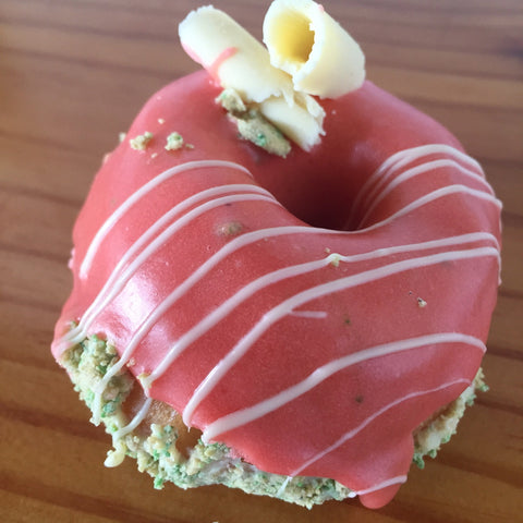Double dipped Strawberry White Chocolate Donut