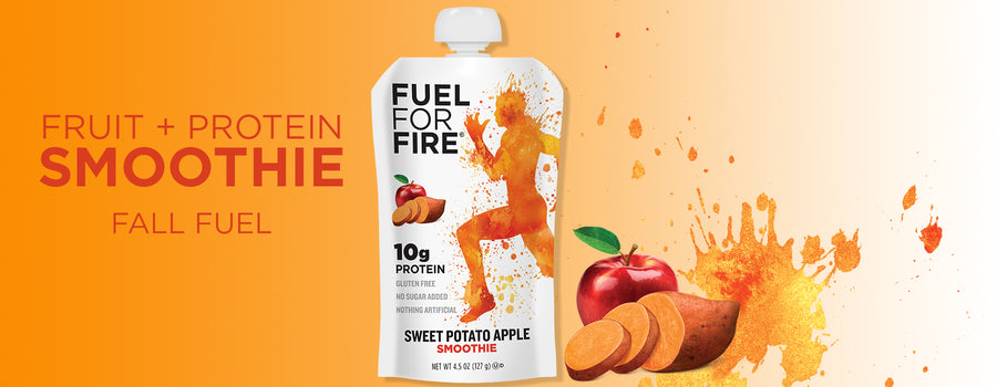 Artwork of Fuel for Fire protein pouch with apple and sweet potato flavor