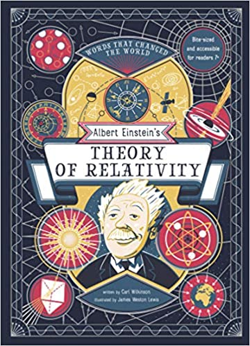 Colorful illustrations depicting elements of Einstein's Theory of Relativity.