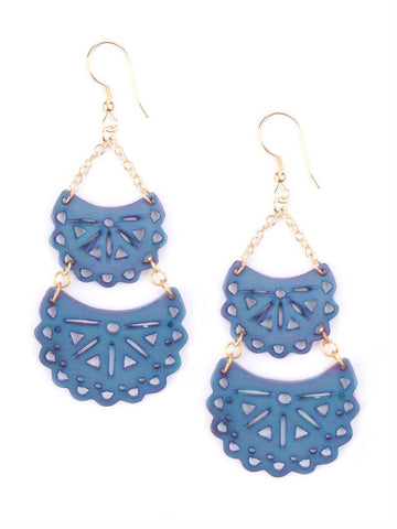 Blue Crescent Earrings