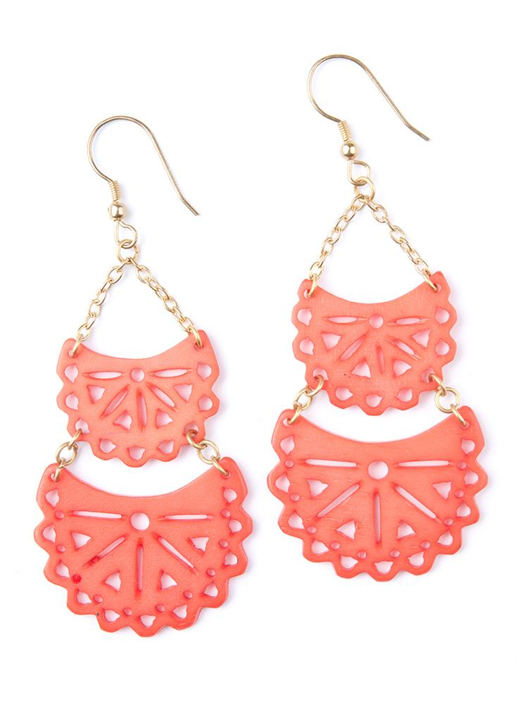 Coral Crescent Earrings