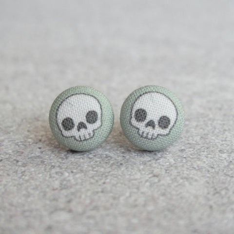 Grey Skull Fabric Earrings