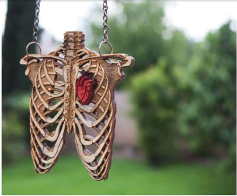Rib Cage Wood Necklace