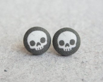Black Skull Fabric Earrings