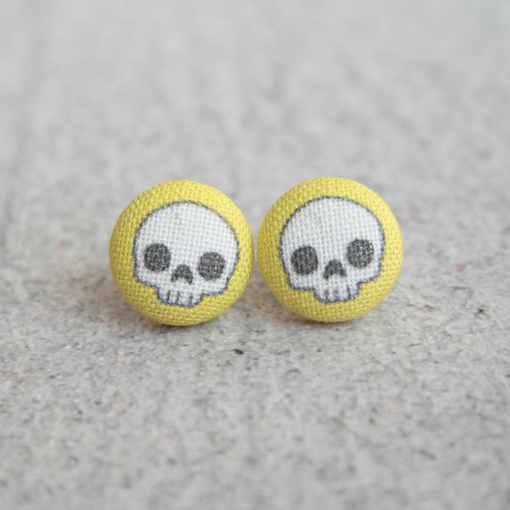 Yellow Skull Fabric Earrings