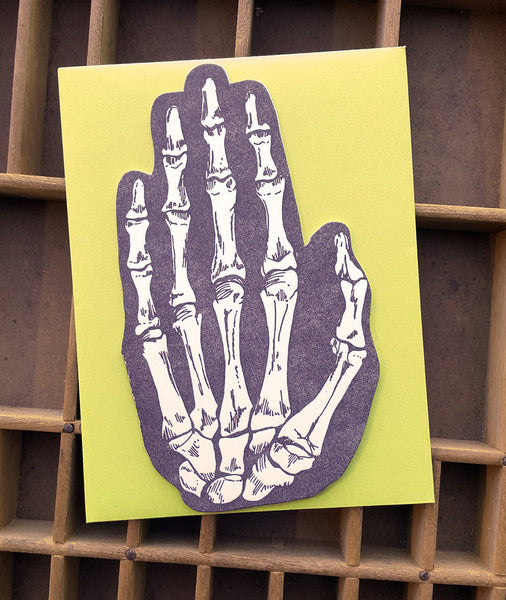 Skeleton Hand Letterpress Card