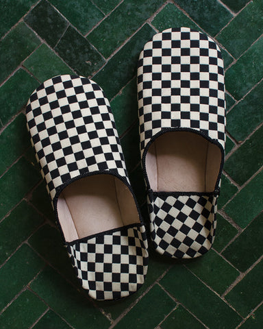 Babouche Checker Black White