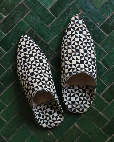 Babouche Checker Split Black White