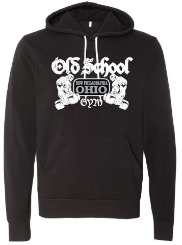 Old School Gym Bella + Canvas Unisex Hooded Pullover Sweatshirt - Black