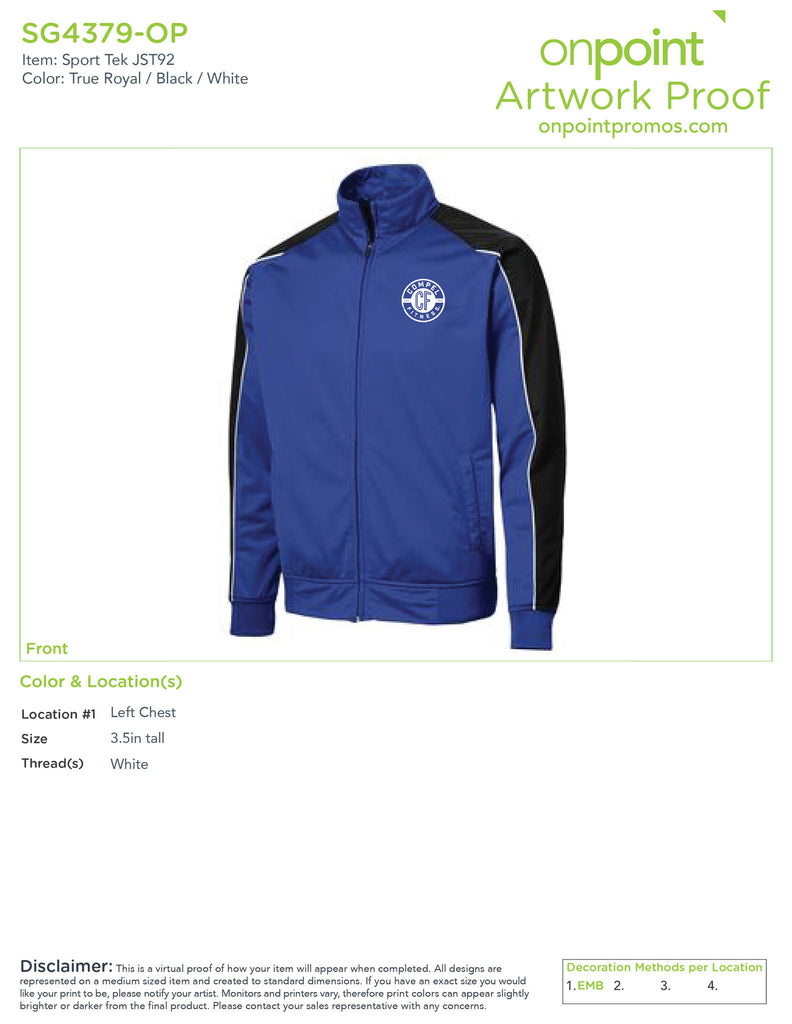 Compel Fitness Track Jacket - True Royal/ Black/ White