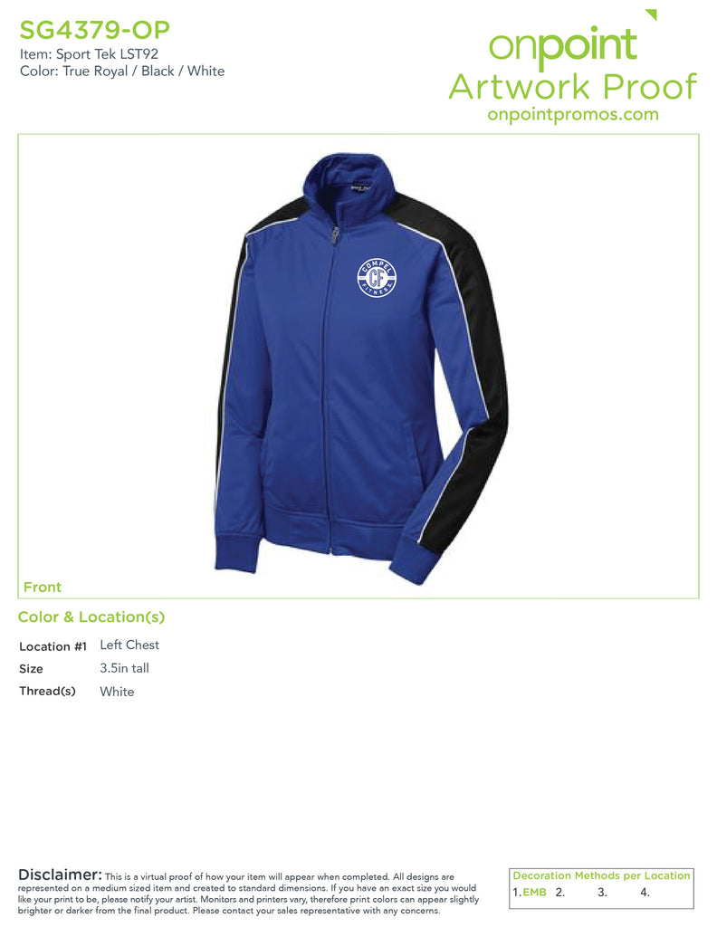 Compel Fitness Ladies Track Jacket - True Royal/ Black/ White