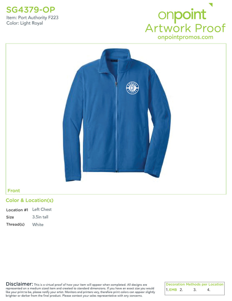 Compel Fitness Microfleece Jacket F223 - Light Royal